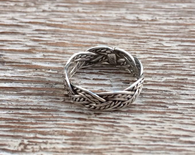 Silver Braided Midi Ring | Small Ring | Weave Design | Size 2 Ring
