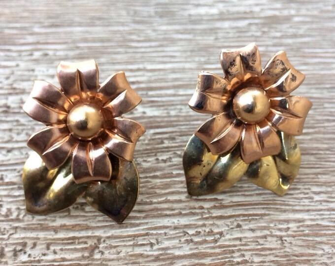 Vintage Silver Flower Earrings | Sterling Silver Earrings | Screw Back | Two Tone Jewelry