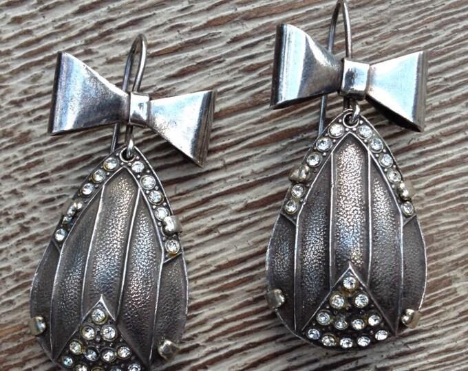 Vintage Silver Art Deco Bow Earrings | Tear Drop Shape