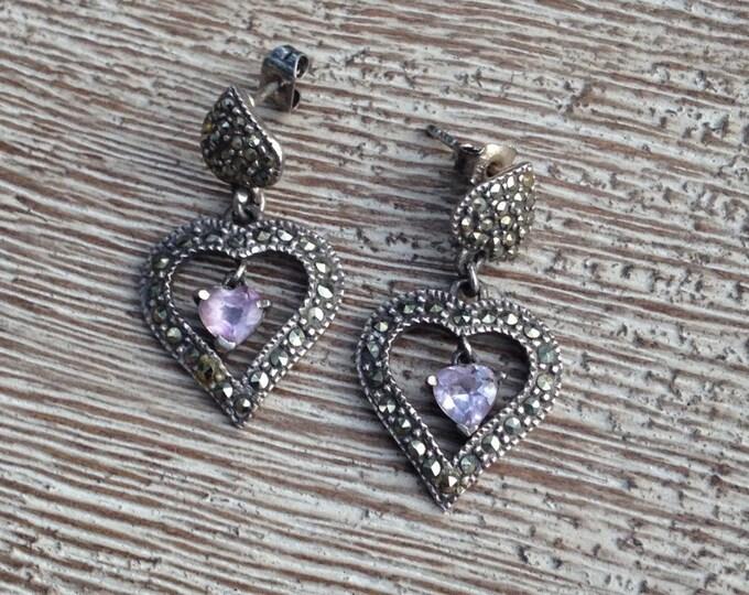 Vintage Silver Marcasite Heart Earrings | Amethyst Heart Drop
