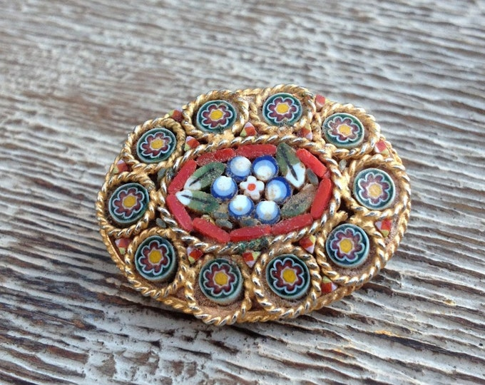 Vintage Millefiori Flower Brooch | Micro Mosaic Flower