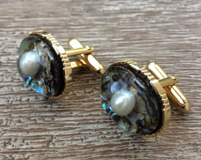 Vintage Swank Abalone and Pearl Cufflinks | Arts of the World Collection | Gold-Tone