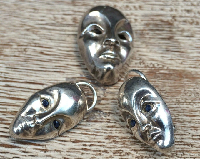 Vintage Silver Modernist Face Earrings and Brooch | Silver Mask Jewelry | Sapphire Eyes