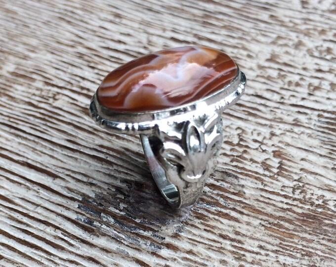 Vintage Sterling Agate Ring | UNCAS Art Nouveau Style | Size 5 1/2
