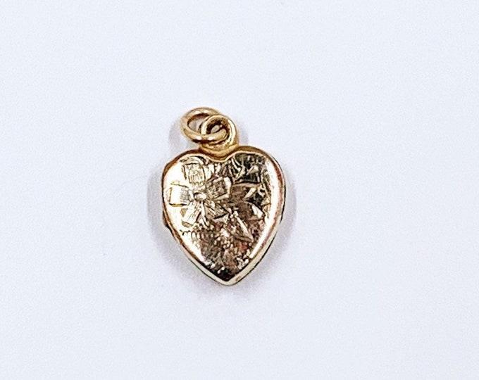 Vintage Mini Floral Heart Locket | Gold Filled Tiny Flower Heart Pendant
