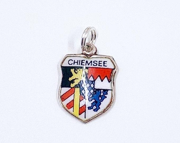 Vintage Silver Chiemsee Germany Enamel Charm | Germany Enamel Travel Shield Charm | 800 REU Charm