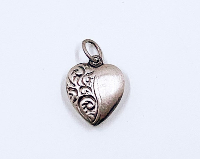 Vintage Engraved Puffy Heart Charm | Mini Silver Heart Charm