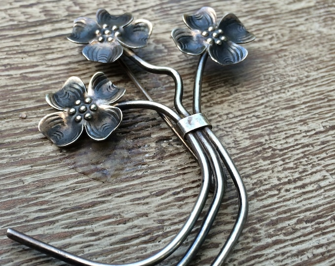Vintage Dogwood Flower Brooch | Sterling Silver Bouquet