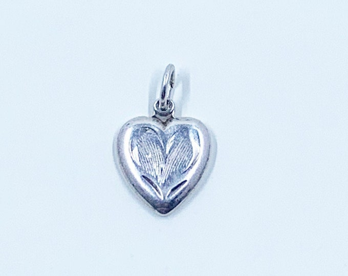 Vintage Silver Tiny Heart Charm | Silver Engraved Heart Charm