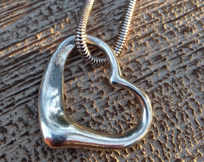 Sterling Silver Open Heart Necklace | Vintage Silver Heart Pendant