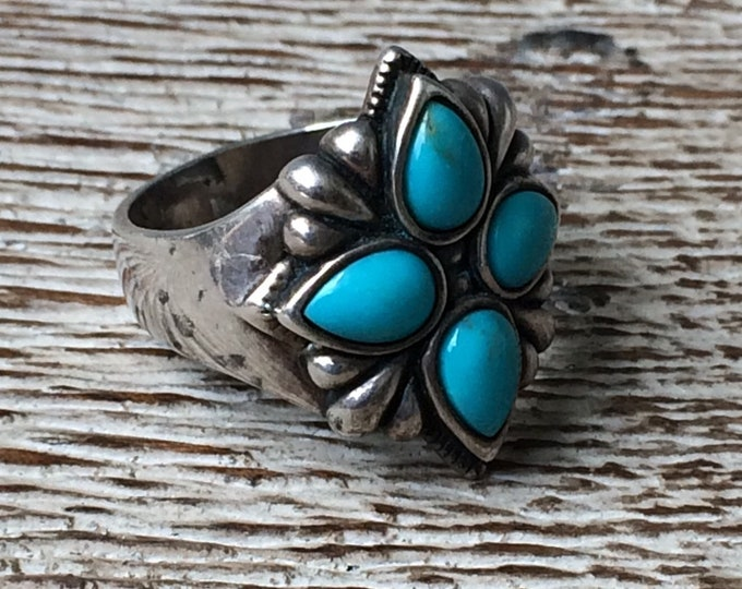 Vintage Silver Turquoise Ring | Relios | Carolyn Pollack | Size 6 Ring