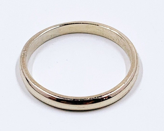 Vintage 14k White Gold Wedding Band Ring | 2.2 mm Gold Stackable Band Ring | Size 7 Ring