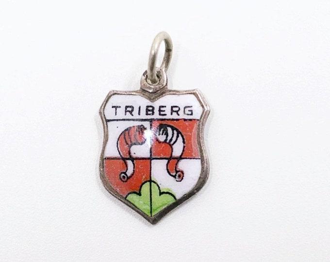 Vintage Silver Triberg Enamel Shield Charm | Vintage Enamel Travel Shield Charm | 800 Silver Charm