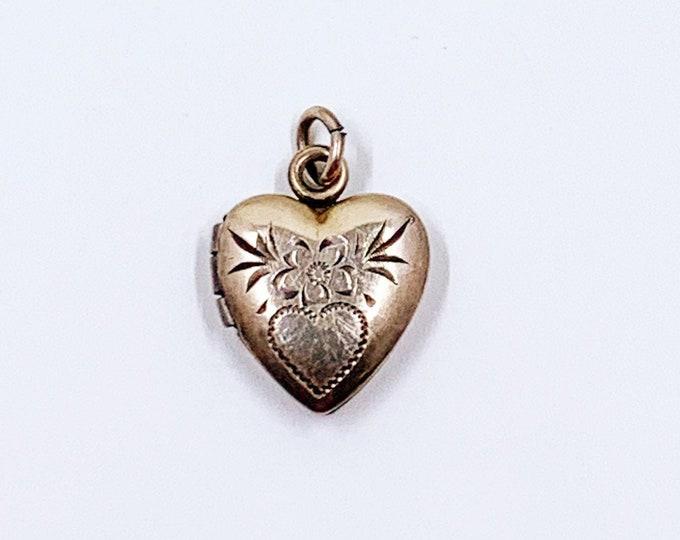 Vintage Mini Gold Heart Floral Locket | Small Engraved Flower Heart Locket
