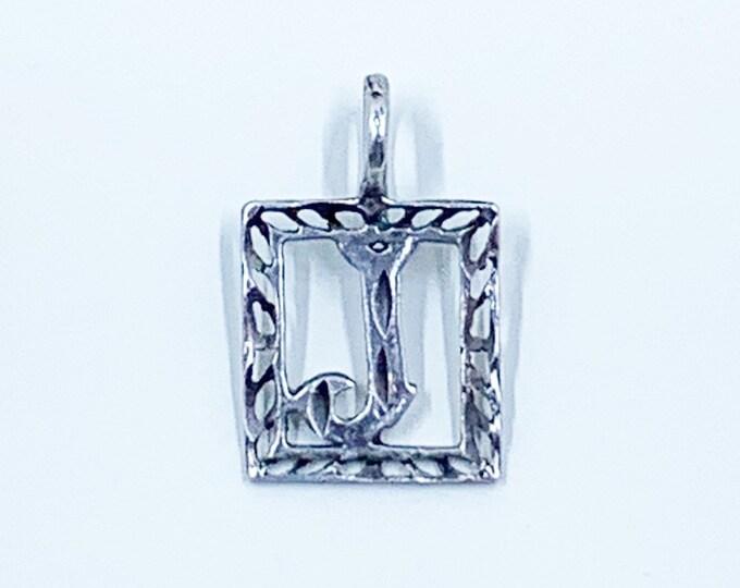 Vintage Silver J Charm | Letter J Pendant