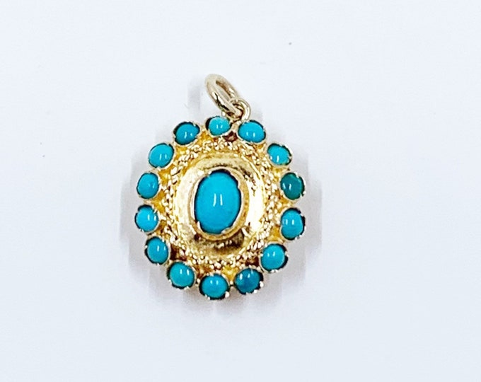 Vintage Handmade Gold Turquoise Cluster Pendant | Conversion Jewelry