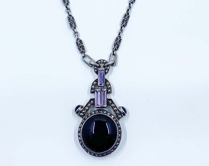Vintage Art Deco Style Onyx Necklace | Heirloom 73 Jewelry | Vintage Creations