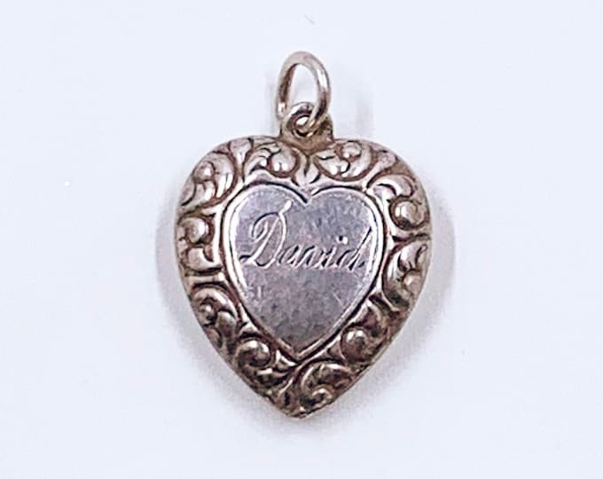 Vintage Sterling Puffy Heart Charm | Sweetheart Charm | Engraved David