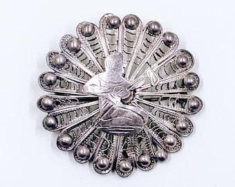 Vintage Silver Egyptian Filigree Brooch   Vintage Egyptian Revival Filigree Lute Brooch