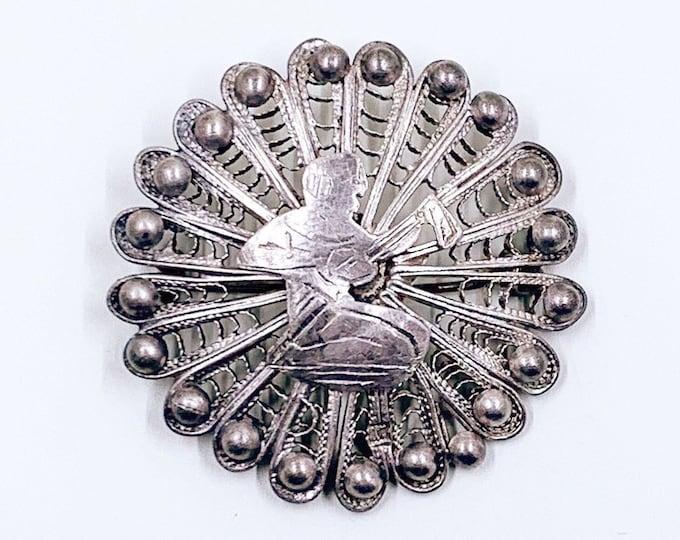 Vintage Silver Egyptian Filigree Brooch | Vintage Egyptian Revival Filigree Lute Brooch