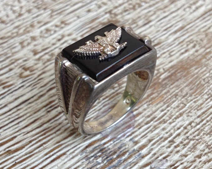 Vintage Silver Eagle Signet Ring | Onyx Signet Ring | Size 7 1/2 Ring