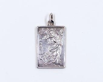 Vintage ROC Taiwan Fine Silver 999 Ingot Bar Pendant | 3.5 grams Fine Silver Chinese Goddess Ingot | 999 Silver Ingot Pendant