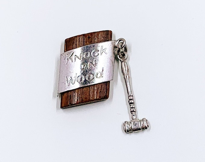 Vintage Silver Knock On Wood Charm | Touch Wood Good Luck Charm