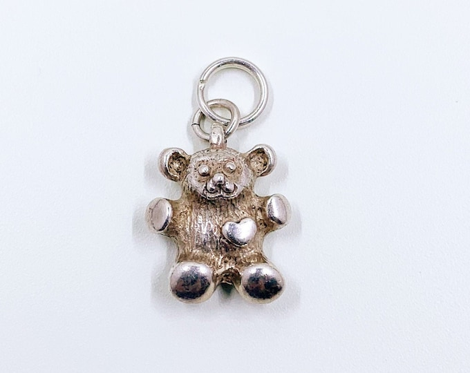 Vintage Sterling Silver Bear Charm | Small Teddy Bear Charm