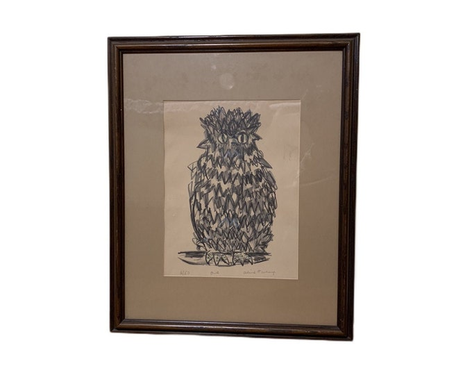 Vintage Aline Fruhauf Owl Lithograph Print | Limited Edition Hand Colored Print | Framed Print