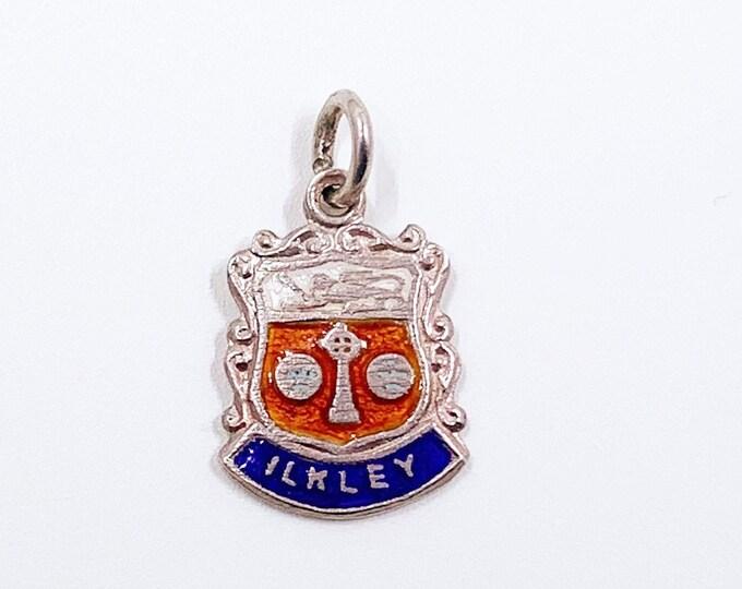 Vintage Silver Ilkley England Enamel Shield Charm | Vintage UK Enamel Travel Shield Charm