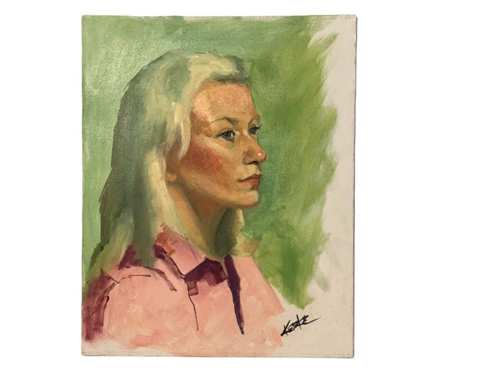 Vintage Female Portrait Painting by Diane Keske | 1970's Unframed Portrait Painting | American Painter