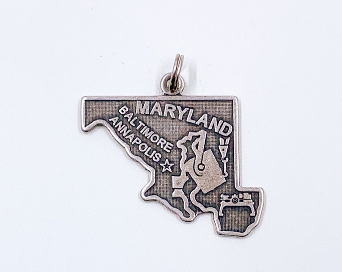 Vintage Maryland State Charm | Silver State of Maryland Charm
