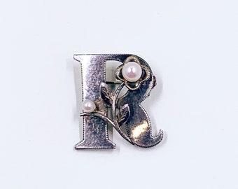 Vintage Silver Pearl Letter R Brooch | Sterling Silver R Brooch | Silver and Pearls Monogram Letter R Brooch