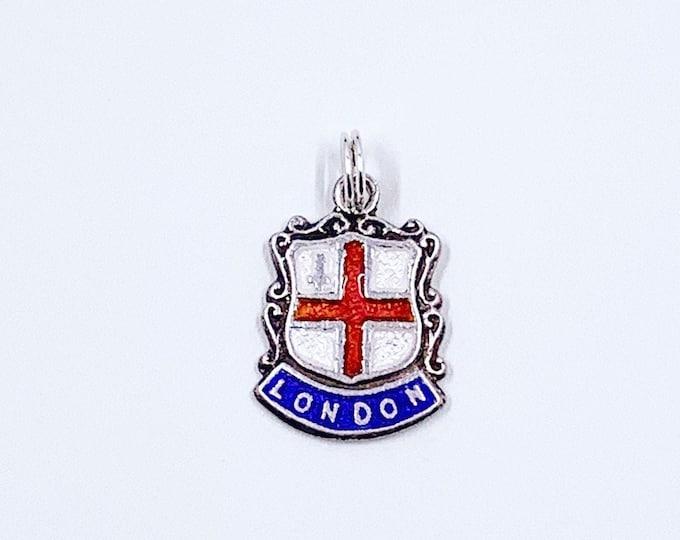 Vintage Silver London England Enamel Shield Charm | Vintage UK Enamel Travel Shield Charm