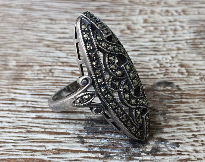 Vintage Art Deco Marcasite Silver Ring | Navette Statement Ring | Size 6 Ring