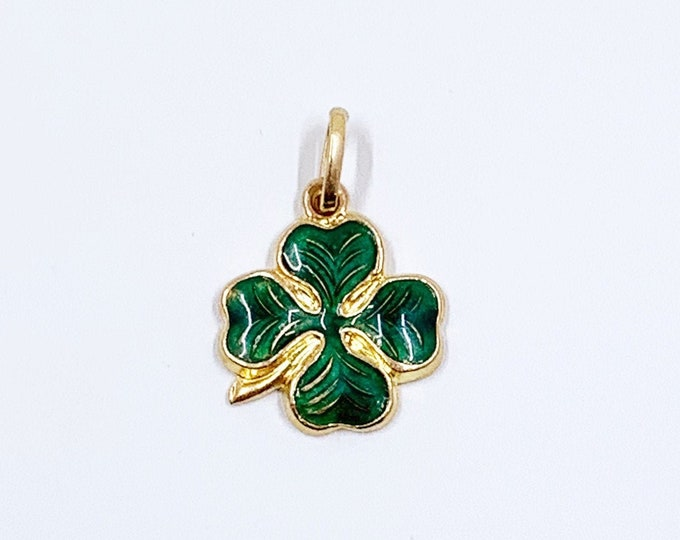 Vintage 14k Gold Lucky Four Leaf Clover Charm   Gold Lucky Clover Pendant