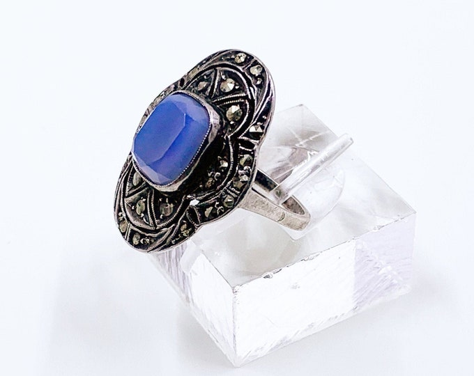 Vintage German Art Deco Marcasite Silver Ring | Sterling Blue Stone Ring | Size 5 1/2