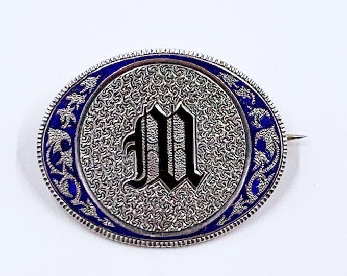 Antique Victorian Silver Engraved Enamel Brooch | Sterling Silver Letter M Brooch