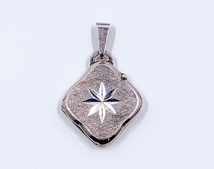 Vintage Silver Star Locket | Silver Star Burst Locket Pendant