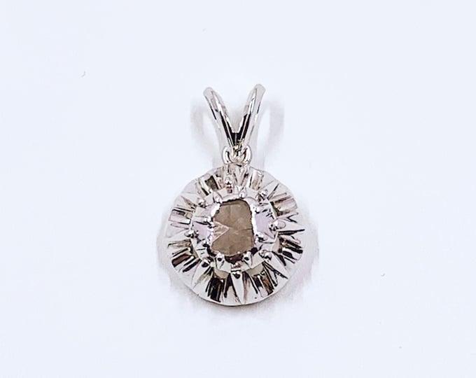 Antique Georgian Conversion Solitaire Diamond Pendant |  Antique Rose Cut Diamond Pendant