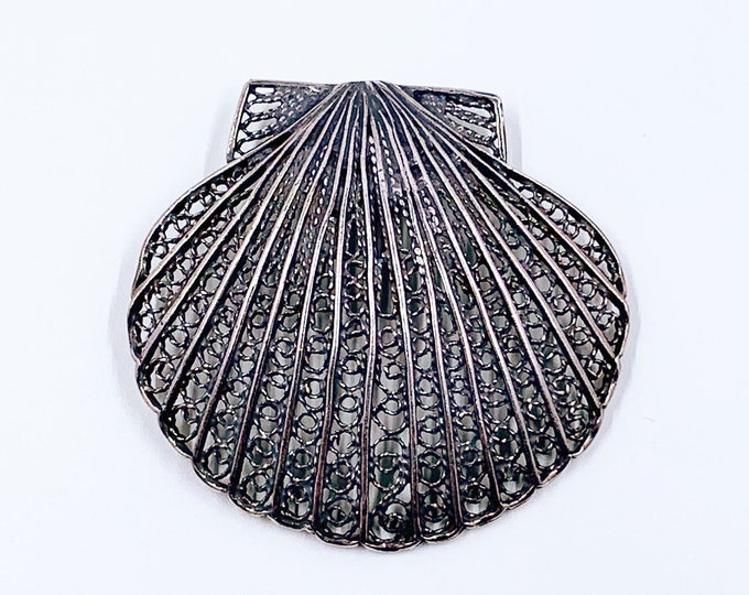Vintage Silver Filigree Shell Pendant | Large Silver Sea Shell Pendant