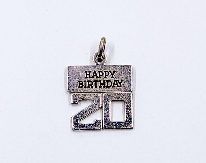 Vintage Happy 20th Birthday Charm | Silver 20th Birthday Charm | Wells Sterling