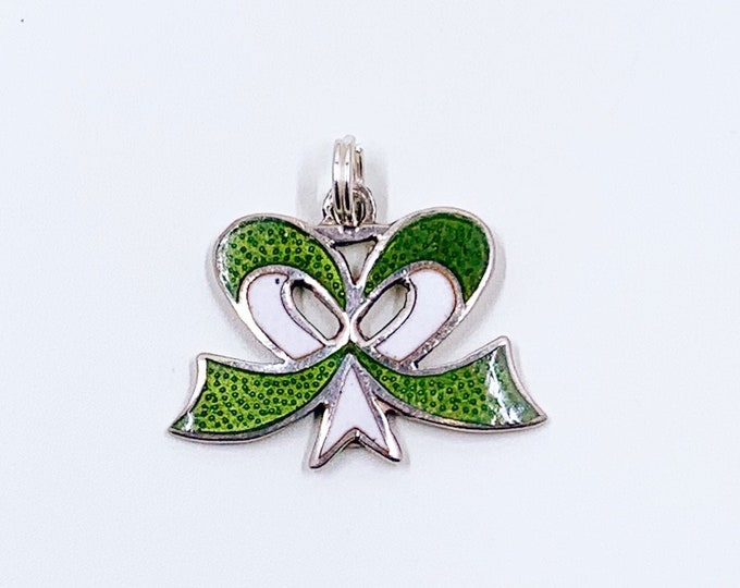 Vintage Silver Enamel Bow Charm | Green and White Enamel Charm