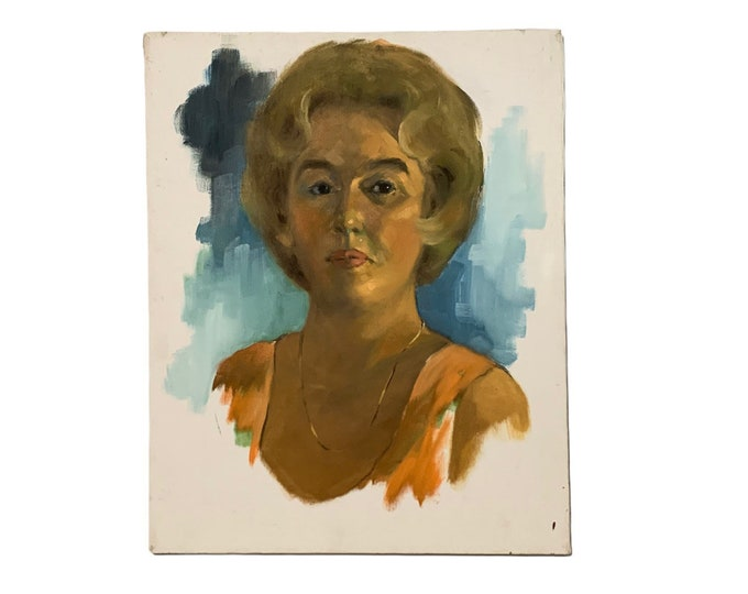 Vintage Portrait Painting of Artist Marilyn Bendell by Diane Keske | 1970's Unframed Portrait Painting | American Painter