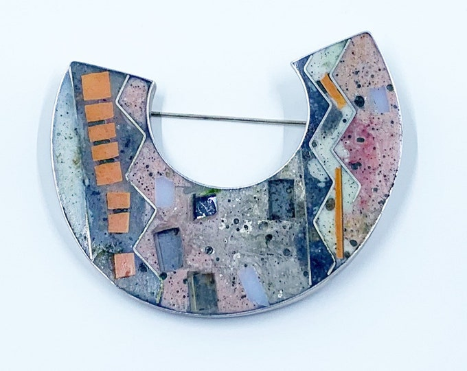Vintage Silver Modernist Cloisonne Brooch | Abstract Inlay | Geometric Brooch