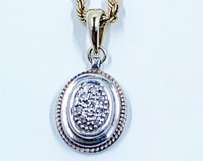 Vintage Silver and Gold Diamond Pendant   14k Gold Diamond Charm   Two Tone Mixed Metal Pendant