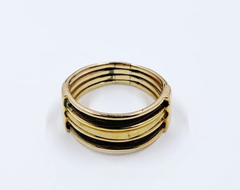 Antique Victorian Gold Elephant Hair Ring | 9 Ct | Good Luck Ring | Size 6 3/4  | 3 Strand Elephant Hair Ring