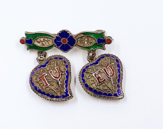 Vintage Silver Filigree Heart Brooch | Enamel Witches Heart Brooch | TU EU - You and ME Brooch | Topazio Portugal