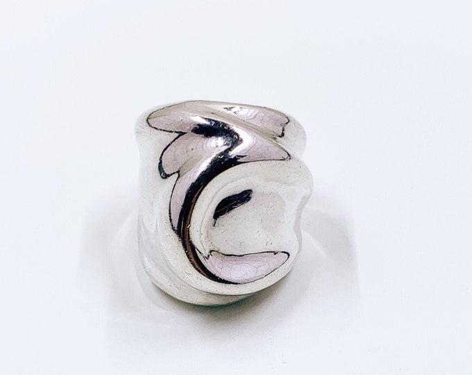 Vintage Charles Krypell Modernist Silver Ring   Size 2 3/4 Ring