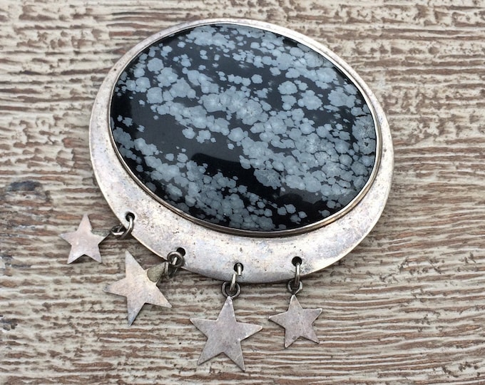 Vintage Snowflake Obsidian Brooch | Great Falls Metalworks | Black Stone Brooch